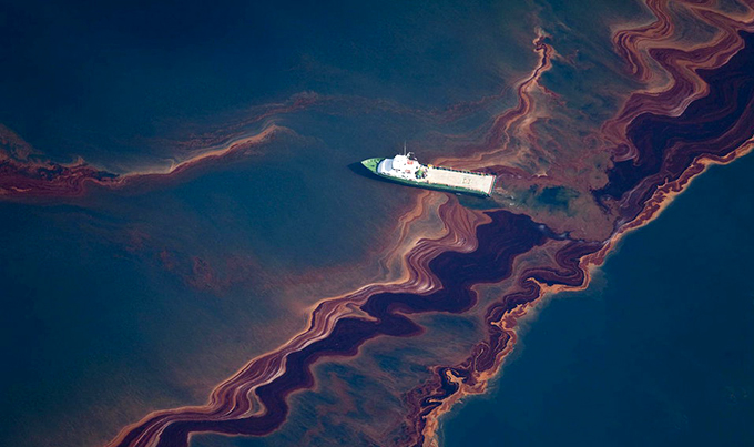 An aerial view of the oil leaked from the Deepwater Horizon wellhead