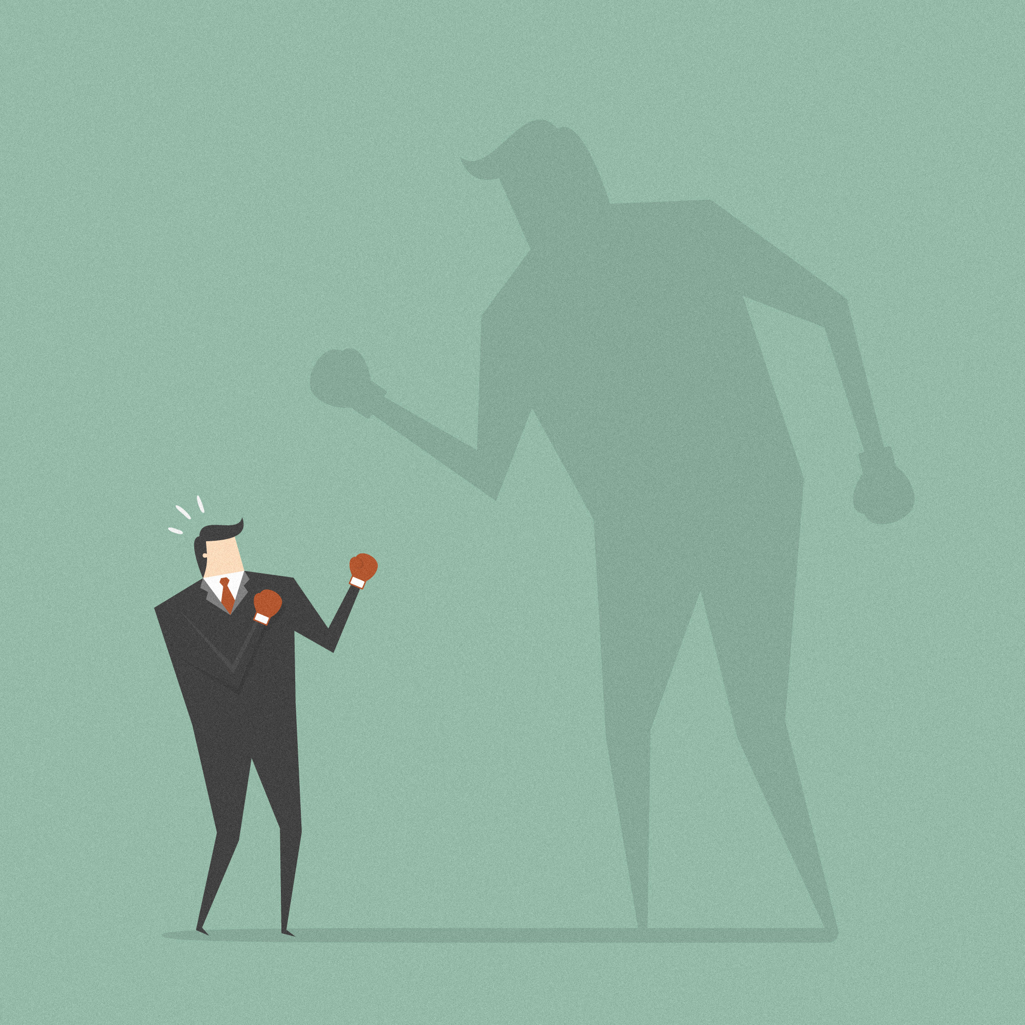 Businessman Fighting His Shadow. Business concept cartoon illustration.